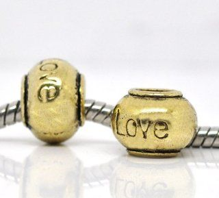 "Gold Tone Round ""Love"" Bead Charm Spacer Bead Fits European Pandora Troll Pugster Other Type Bracelet Sold by ChiChi Beads Jewelry"