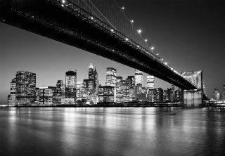 """Fototapete """"Lower Brooklyn Bridge"""", schwarz weiss Fotografie von Henri Silberman, New York Fototapete der Extraklasse, 8 teilig, 366x254cm, gestochen scharfe XXL Ansicht verf�gbar. Baumarkt"""