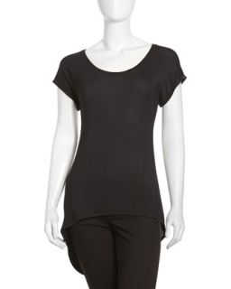Short Sleeve Hi Lo Tee, Black