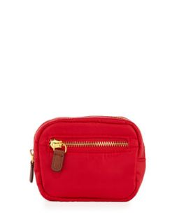 Au Revoir Nylon Mini Cosmetic Pouch, Red