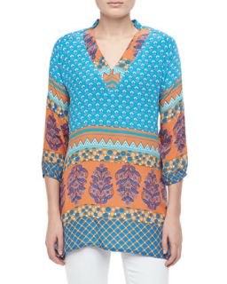 Chandra Long Printed Silk Tunic, Womens   Tolani   Turq orange (1X (14/16W))