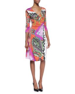 Womens Paisley Jersey 3/4 Sleeve Wrap Dress, Orange/Pink   Etro   Light orange