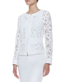 Womens Long Sleeve Floral Lace Zip Jacket, White   Escada   White (40)