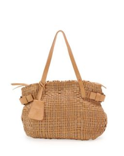 Opale Woven Leather Tote Bag, Neutral   Henry Beguelin