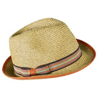 Merona Fedora Hat with Multicolored Bow Sash   Light Brown
