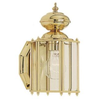 Sea Gull Lighting Classico 1 Light Outdoor Polished Brass Wall Mount Fixture 8507 02