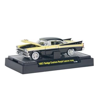 M2 Machines 164 Scale Diecast Vehicle   1957 Dodge Custom Royal Lancer D500   Yellow and Black    Castline