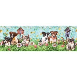 The Wallpaper Company 6.75 in. x 15 ft. Brightly Colored Puppies and Kittens Border WC1285027