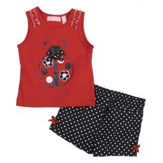 Toddler Girls Red Ladybug Top and Polka Dot Short Set