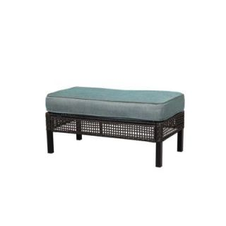 Hampton Bay Fenton Patio Ottoman Coffee Table With Peacock Java