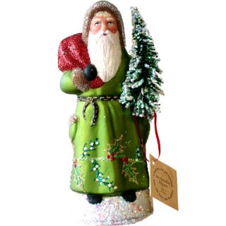Schaller Paper Mache Candy Container Santa Coat with Tree