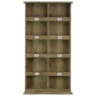 Natural Wood Finish Wood Wall Mail Organizer with 8 Numbered Shelves