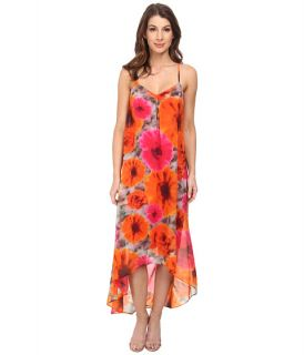 Maggy London Smudge Daisy Printed Chiffon Hi Low Maxi Grey/Orange