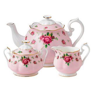 Royal Albert Fine bone china Country Rose tea pot, sugar pot and cream jug set
