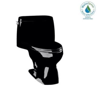 f958add3826 KOHLER Santa Rosa Comfort Height 1 piece 1.28 GPF Single Flush Compact  Elongated Toilet with AquaPiston Flush in Black Black K 3810 7