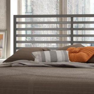 Amisco Theodore Glossy Grey 60 inch Queen size Metal Bed Platform Mattress Support, Headboard