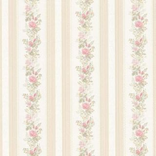 Mirage 56 sq. ft. Alexis Pink Satin Floral Stripe Wallpaper 992 68352