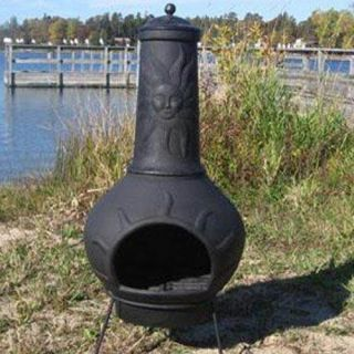Blue Rooster Sun Ray Cast Aluminum Chiminea   Charcoal   Open Box   ALCH072 COOB