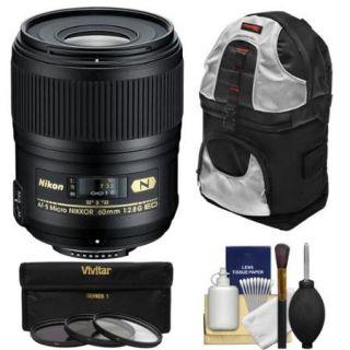 Nikon 60mm f/2.8G AF S ED Micro Nikkor Lens with 3 Filters + Sling Backpack + Kit for D3200, D3300, D5200, D5300, D7000, D7100, D610, D800, D810, D4s DSLR Cameras