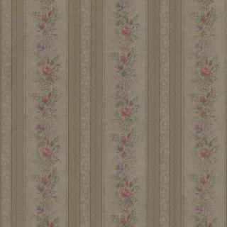 Mirage 56 sq. ft. Alexis Olive Satin Floral Stripe Wallpaper 992 68350