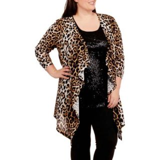 Women's Plus Size Animal Print Easy Waterfall Cardigan