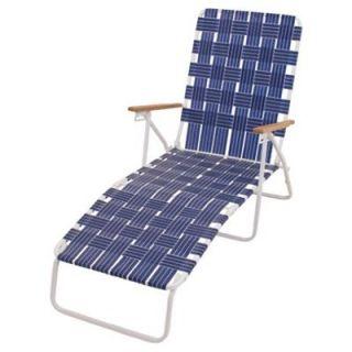 Web Chaise Lounge, Hi Back, White Steel Frame & Blue Web: Model# BY405 0138