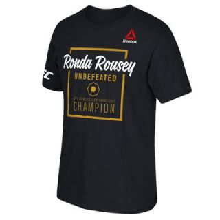 Ronda Rousey UFC Reebok Undefeated Champion T Shirt   Black