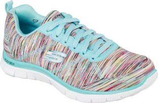 Womens Skechers Flex Appeal Training Sneaker   Whirl Wind/Turquoise/Multi