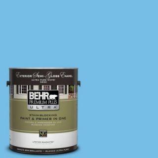 BEHR Premium Plus Ultra 1 gal. #550B 4 Costa Rica Blue Semi Gloss Enamel Exterior Paint 585401