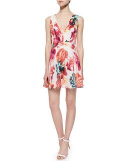 Alice + Olivia Cayden Gathered V Neck Floral Dress, Multicolor