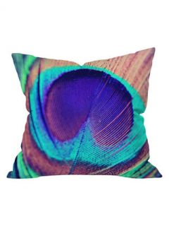 Shannon Clark Pretty Peacock Outdoor Throw Pillow by DENY Designs
