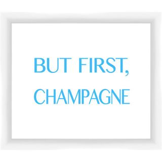 But First, Champagne Giclée Framed Textual Art in Blue