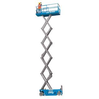 "GENIE Electric Scissor Lift, Yes Drive, DC Power Source, 94"" Overall Height, 500 lb. Load Capacity   Personnel Lifts   38R226