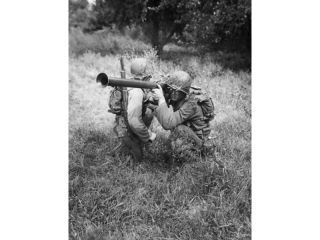 High angle view of two army soldiers shooting during training, Bazooka Training, Fort Dix, New Jersey, USA Poster Print