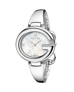 Gucci Guccissima Collection Bangle Watch with Diamonds and White Mother Of Pearl, 36mm