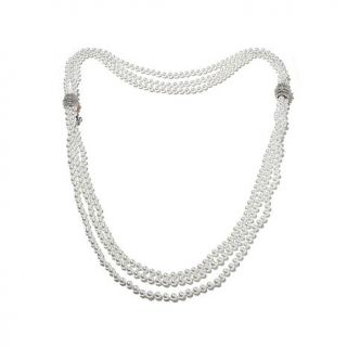 """Homage by Consuelo Vanderbilt Costin """"The Ambassador"""" Simulated Pearl Triple St   7891323"""