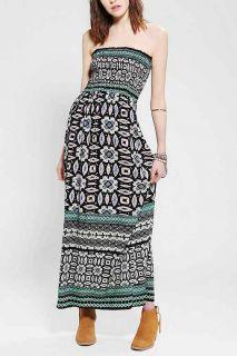 Angie Strapless Boho Print Maxi Dress
