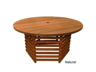 TROOPS BBQ Redwood Outdoor Round Table 61 Inch w/Slat Base, Umbrella Hole, Natural Stain