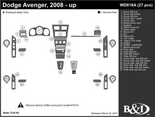 2008, 2009, 2010 Dodge Avenger Wood Dash Kits   B&I WD818A DCF   B&I Dash Kits