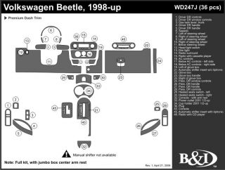 1998 2001 Volkswagen Beetle Wood Dash Kits   B&I WD247J DCF   B&I Dash Kits