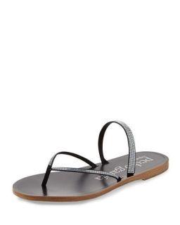 Pedro Garcia Ilsa Flat Crystal Thong Sandal, Black