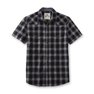 Roebuck & Co. Young Mens Short Sleeve Western Shirt   Plaid