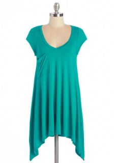 A Crush on Casual Tunic in Teal  Mod Retro Vintage Short Sleeve Shirts