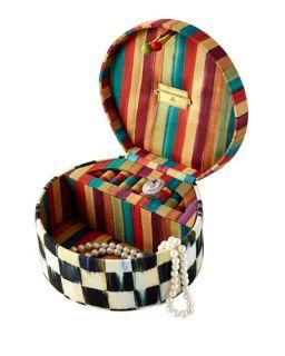 MacKenzie Childs Courtly Check Round Jewelry Box
