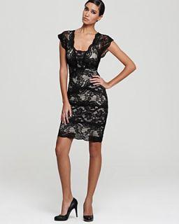 Nicole Miller Lace Dress   Double V Neck