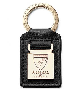 ASPINAL OF LONDON   Metal plaque leather keyring
