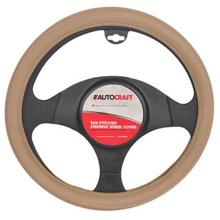 AutoCraft Steering Wheel Cover   Tan Stitch AC38456T