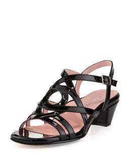 Taryn Rose Oma Patent Strappy Sandal, Black