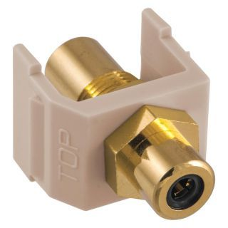 HUBBELL PREMISE WIRING Keystone Jack, Almond, Plastic, Series: iSTATION, Cable Type: RCA (Black)   Voice and Data Jacks   22LX14|SFRCBKFFAL