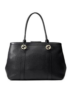 Gucci Miss GG Large Leather Tote Bag, Black